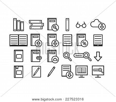 Library Vector Icons Set. Book. Vector Illustration Isolated On White Background. Web Icon.
