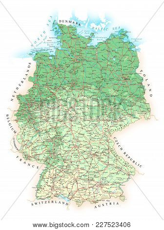 Germany - Detailed Topographic Physical Map - Vector Illustration