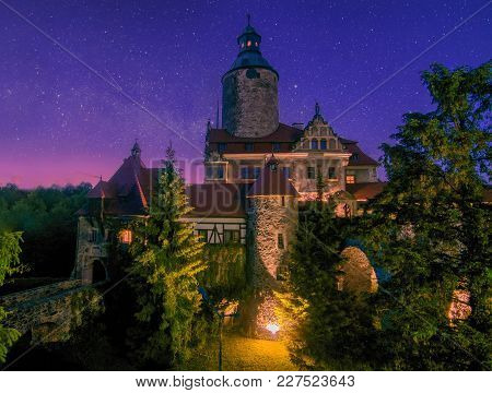 Scenic Nightscape Of Czocha Castle - Popular Tourist Attraction - At Starry Summer Night, Lower Sile