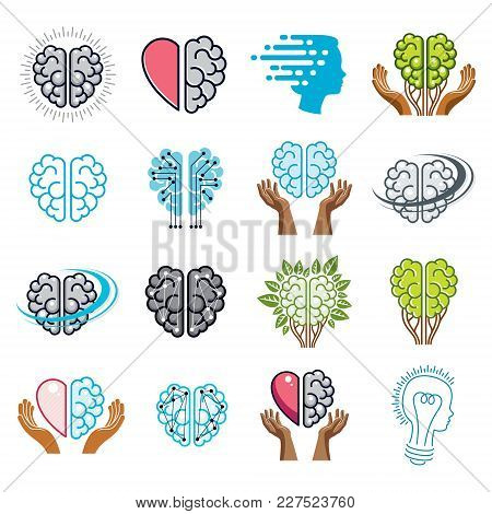 Brain And Intelligence Vector Icons Or Logo Concepts Set. Artificial Intelligence, Bright Mind, Brai