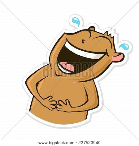 Sticker For Messenger With Funny Animal. Happy Laughing Hamster. Vector Illustration, Isolated On Wh