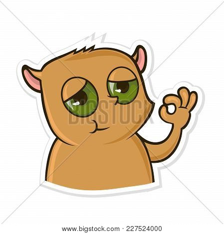 Sticker For Messenger With Funny Animal. Hamster Showing Gesture Ok. Vector Illustration, Isolated O