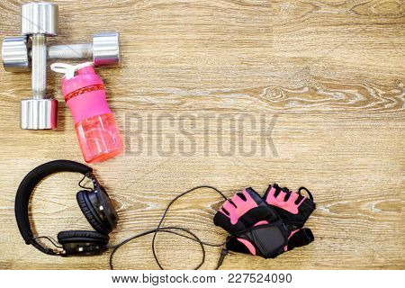 Sports Concept. Accessories For Fitness. The Focus In The Center