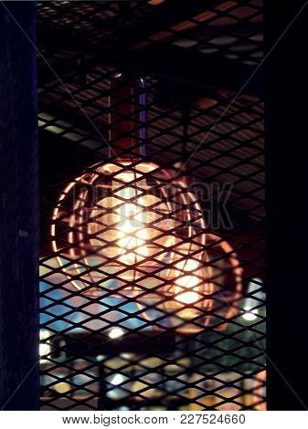 Vintage Industrial Design Style Expanded Metal With Edison Light Bulb