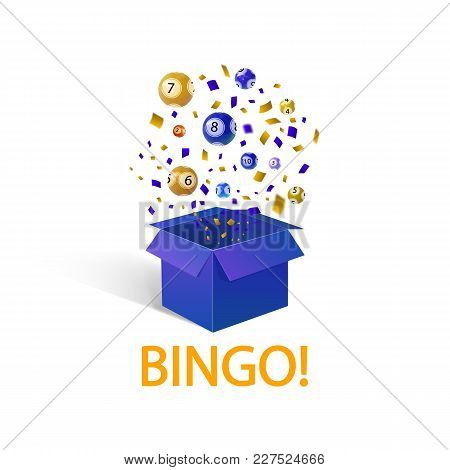 Bingo Lottery Balls, Vector Illustration, Open Box And Word: 'bingo', Winner Concept.