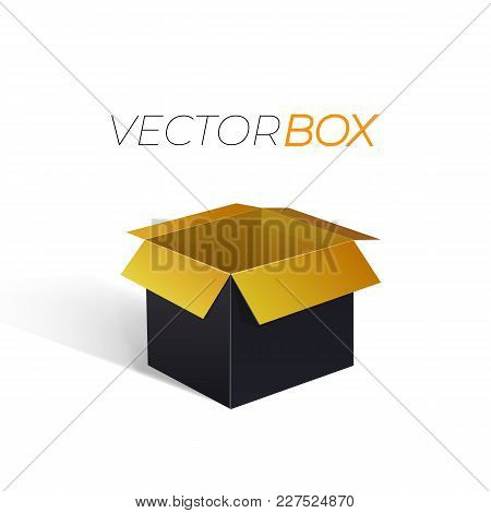 Vector Open Black Box, Gold Color Inside, Isolated On White Background Illustration.