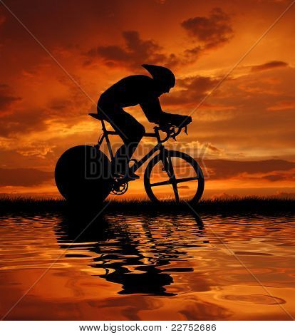 Road cycler silhouette in sunrise poster