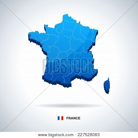 France Map And Flag - Three Dimensional Vector Illustration