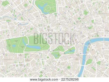 Highly Detailed Vector Map Of London - Illustration