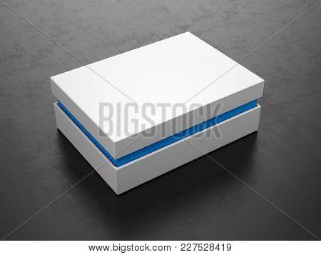 Closed White Box on black background - Box Mockup, 3d rendering