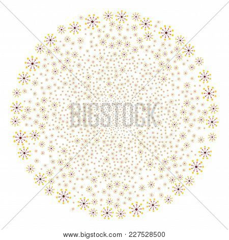 Expanse Festive Circle. Object Pattern Made From Random Expanse Pictograms As Fireworks Round Shape.