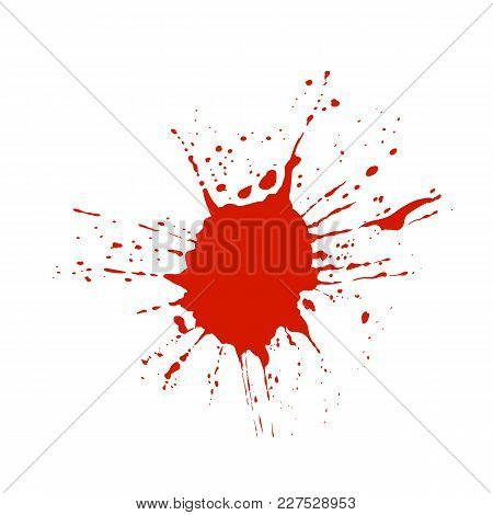 Blood, Red Paint Vector Splatter Isolated On White Background, Brush Temaplate.