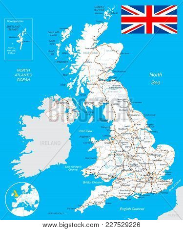 Map Of Great Britain And Flag - Highly Detailed Vector Illustration