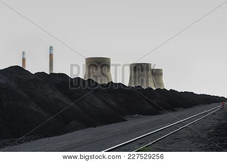 Cooling Towers And Smoke Stacks Of A Coal Burning Power Station