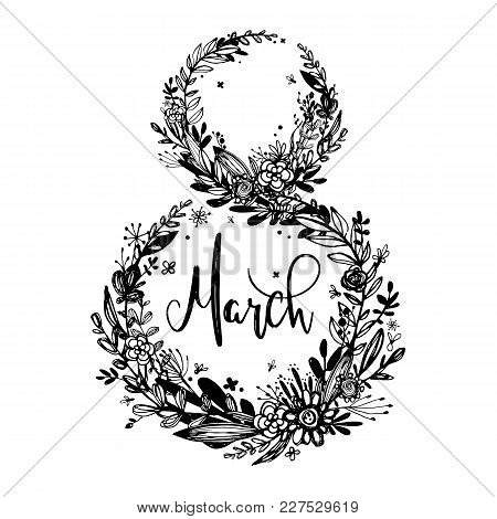 8 March - Woman's Day. Background, Celebration Badge, Tag, Icon. Text Card Invitation, Template. Vec