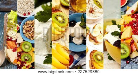 Collage Of Fitness Food. Healthy Breakfast Set. Healthy Food Collage From Eight Photographs.