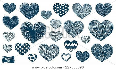 Hearts Doodles Set. Valentines Day Scrawl. Romantic Stickers Collection. Hand Drawn Effect Vector. W