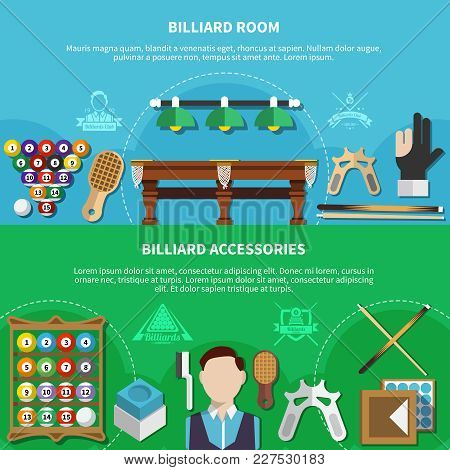 Horizontal Banners Set With Player, Billiard Room, Game Accessories Isolated On Green And Blue Backg