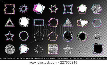 Glitch Elements Set. Computer Screen Error Templates. Digital Pixel Noise Abstract Design. Poster De