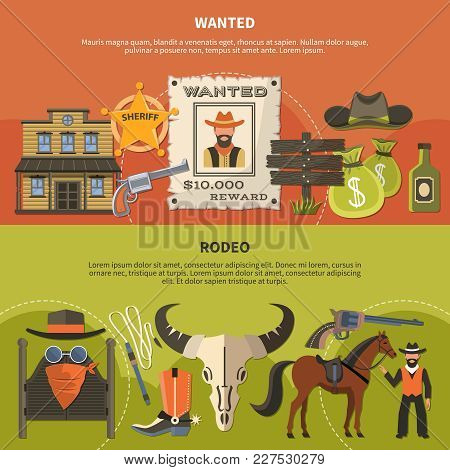Horizontal Banners With Sheriffs Attributes, Wanted Person Poster With Reward, Cowboy Accessories Fo