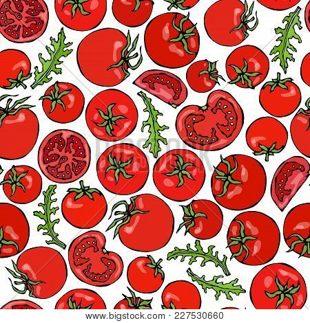 Seamless Pattern With Whole Tomato, Cherry Tomatoes, Tomato Slices, Half Of Tomato And Green Leaves.