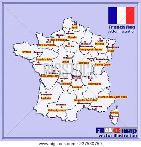 Map Of France. Bright Illustration With Map. Illustration With Blue Background. Map Of France With M