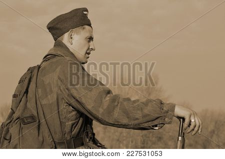 Liberation of Kiev from nazis reenactment.An unidentified person wears historical German uniform . At November 7,2013 in Kiev, Ukraine