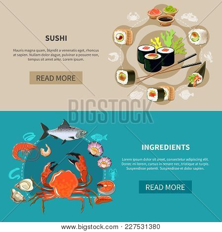 Two Colored And Flat Sushi Banner Set With Sushi And Ingredients Descriptions And Read More Buttons