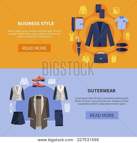 Two Colored Horizontal Clothes Banner Set With Business Style And Outerwear Descriptions Vector Illu