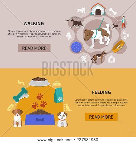 Set Of Two Dogs Horizontal Banners With Read More Button Editable Text And Pets Symbolic Images Vect