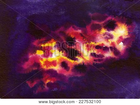 Watercolor Cosmic Purple Background With Colorful Nebula