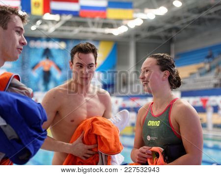 ST. PETERSBURG, RUSSIA - DECEMBER 22, 2017: Team Netherlands after mixed 4 x 100m freestyle relay during Salnikov Cup. The team takes silver in this competitions