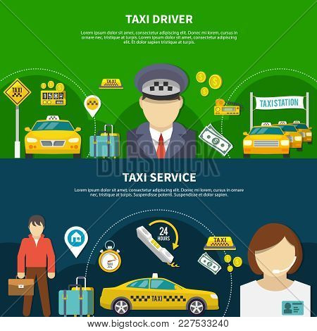 Taxi Horizontal Banners Set With Editable Text And Images Of Taximeter Driver And Passenger Faceless