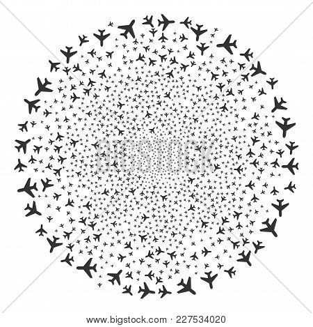 Air Plane Festive Globula. Object Pattern Constructed From Scattered Air Plane Symbols As Festive Ci