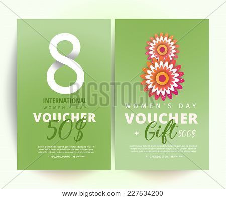 8 March Voucher. 8 Number 3d Illustration With Decoration On Green Background. Bright Set Of Gift Vo