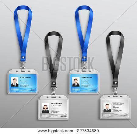 Clear Plastic Name Tag Badges Id Cards Black And Blue Neck Lanyards Holders Realistic Set Vector Ill