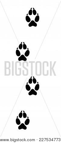 Wolf Tracks. Typical Footprints Of Wolves - Isolated Black Icon Vector Illustration On White Backgro