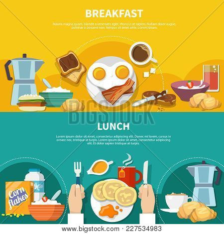 Flat Horizontal Banners Set With Served Lunch And Breakfast Isolated On Colorful Background Vector I