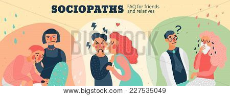 Behavior Of Sociopaths In Different Situations Faq For Friends And Relatives, Hand Drawn Header, Vec