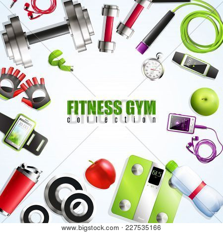 Fitness Gym Realistic Set With Equipment And Accessories Symbols Vector Illustration