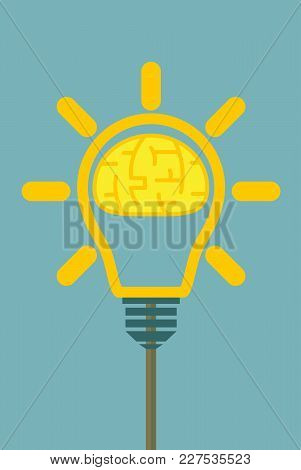 Brain In Lamp. Creative Concept Ideas For Presentation, Booklet, Website And Other Design Projects.