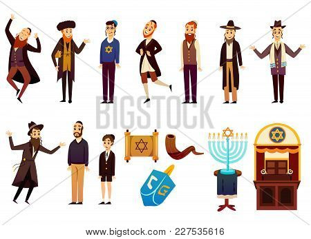 Cartoon Jews Characters Icons Collection With Isolated Images Of Young And Adult Israelite People Wi