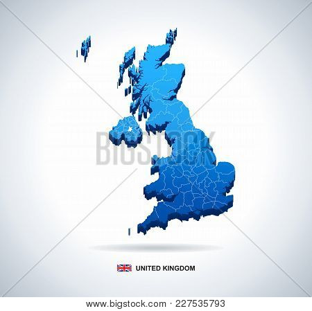 Map Of Great Britain And Flag - 3d Illustration