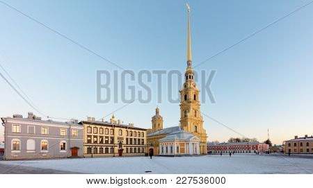 ST. PETERSBURG, RUSSIA - JANUARY 16, 2018: St. Peter and Paul Cathedral in a winter day. Built between 1712 and 1733, it is the first and oldest landmark in St. Petersburg