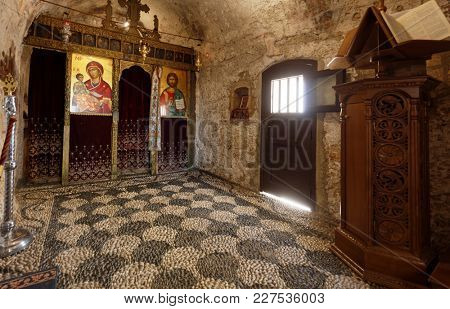 ARCHANGELOS, RHODES ISLAND, GREECE - OCTOBER 11, 2017: Interior of Tsambika church. Dedicated to Virgin Mary, the church was erected on the place where the icon was miraculously found