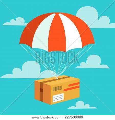Delivery Service Concept. Flat Design Colored Vector Illustration Of Package With Parachute. Fast De