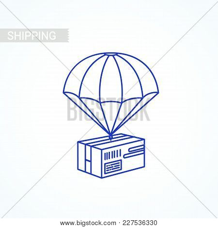 Line Parcel Box Item. Shipping Service Concept. Flat Outline Design Colored Illustration Of Package
