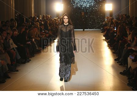Kyiv, Ukraine - February 7, 2018: Model Walks The Runway At Lyalya Sogomonyan Collection Show During