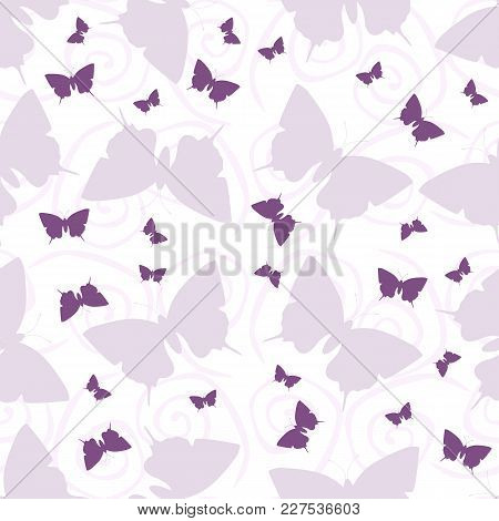 Seamless Vector Pattern With Butterflies And Curls. Vector Illustration.