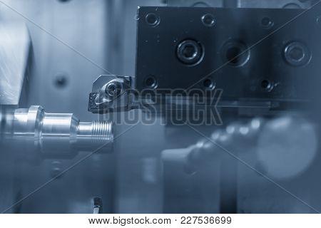 Cnc Lathe Machine Cutting The Metal  Screw Thread Part